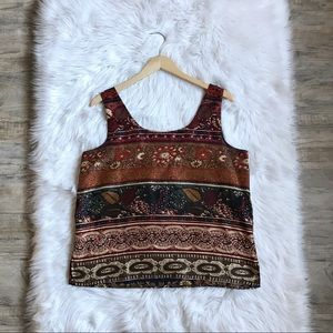 100% Silk Express Tribal Print Earth Tone Tank Top